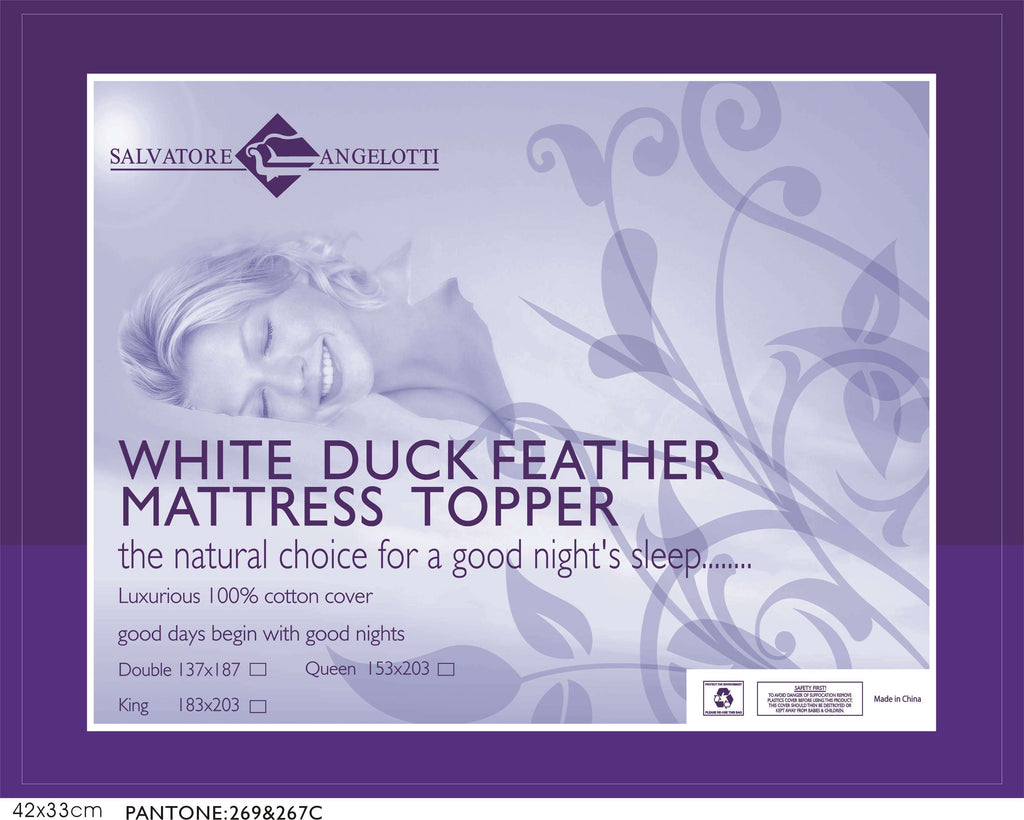 King Mattress Topper - 100% Duck Feather - Desirable Home Living
