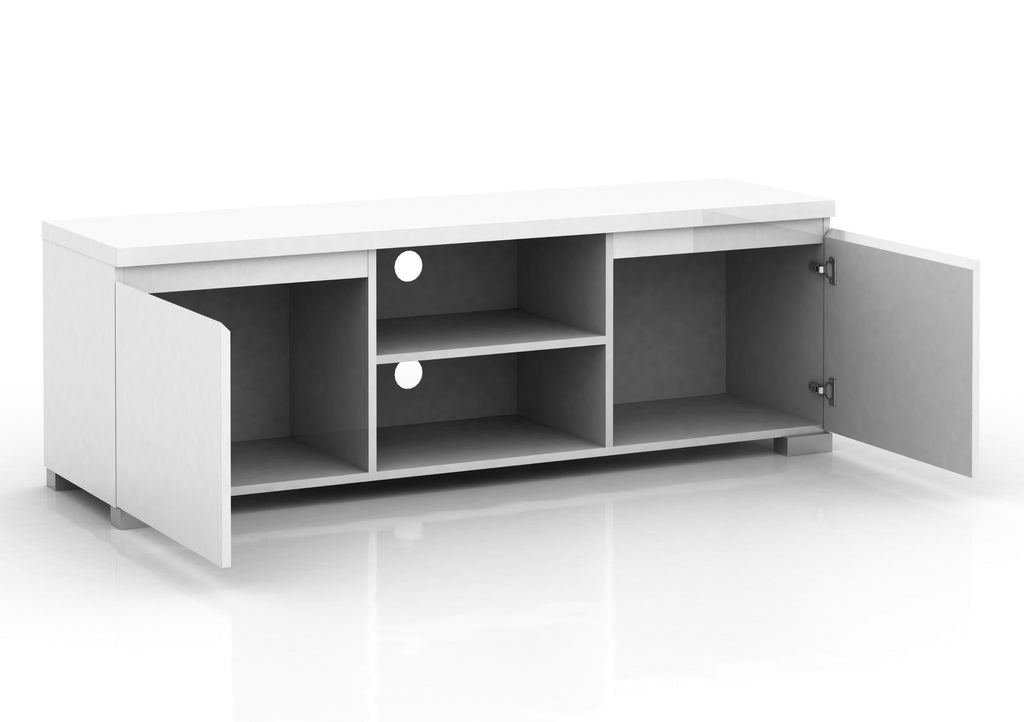 Elara High Gloss 2 Compartment 2 Door Entertainment Unit - White