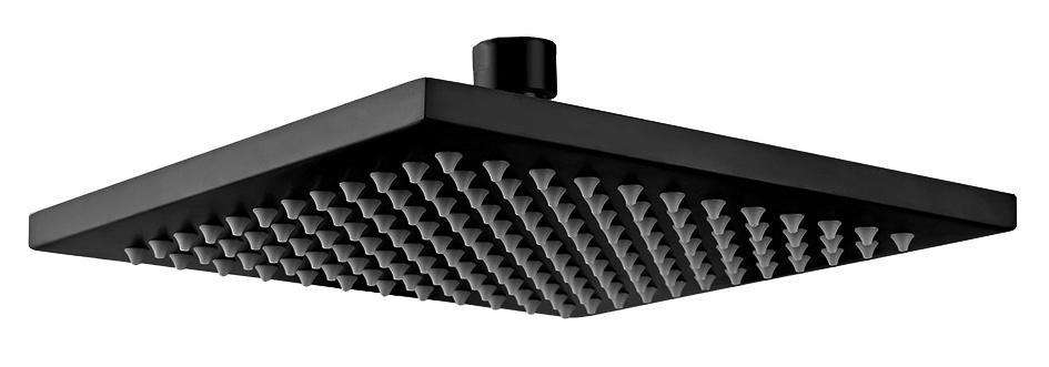 200mm Shower Head Square 304SS Showerhead Electroplated Matte Black Finish - Desirable Home Living