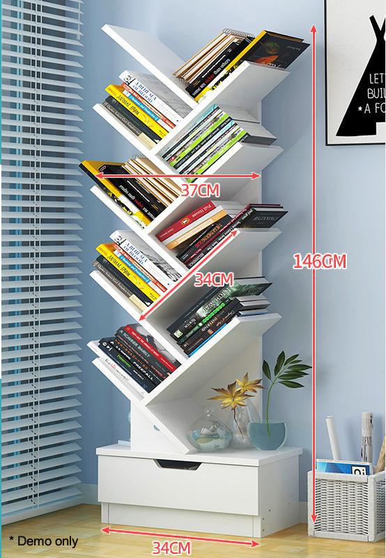 Tree Bookshelf Organizer 9-Tier Display Rack