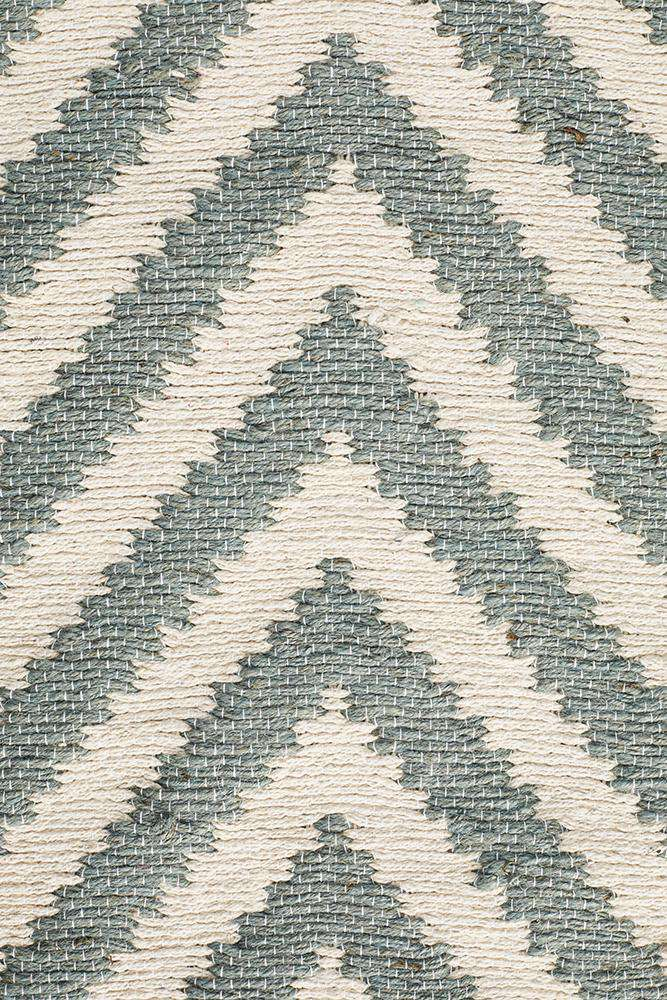 Abode Chevron Design Blue Rug
