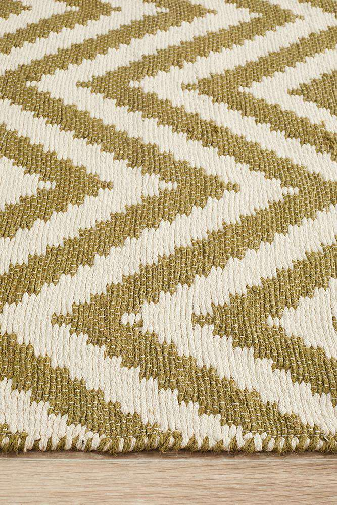 Abode Chevron Design Green Rug