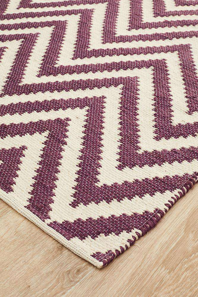 Abode Chevron Design Purple Rug
