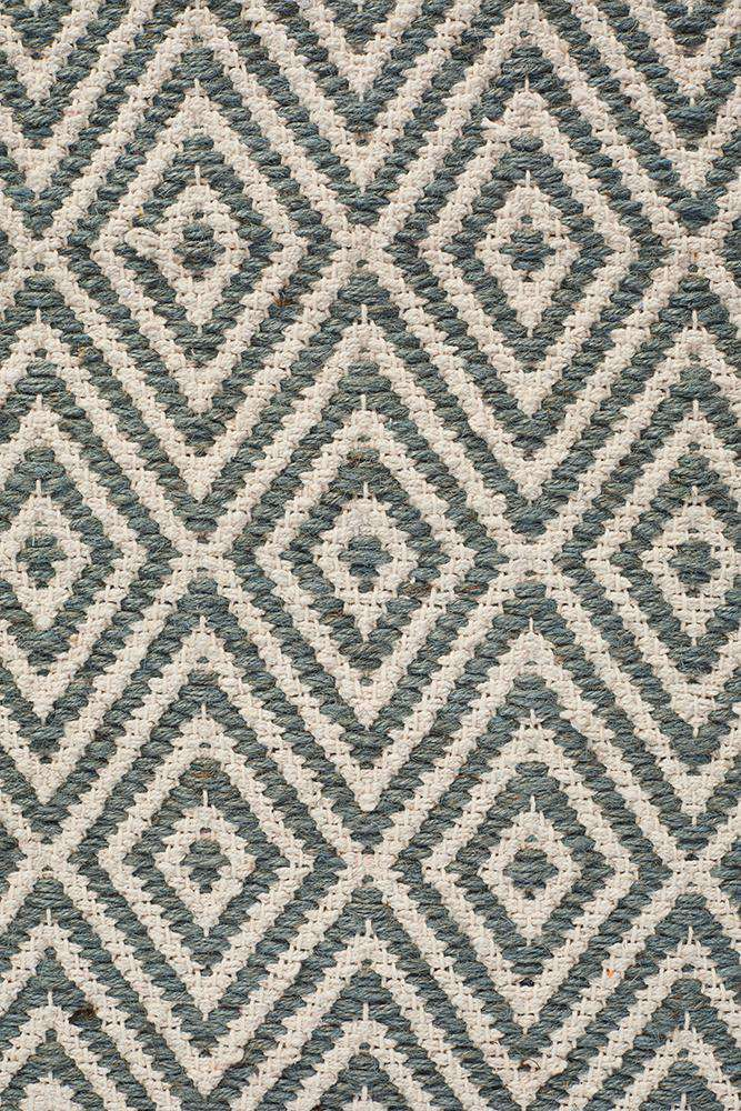 Abode Diamond Design Blue Rug