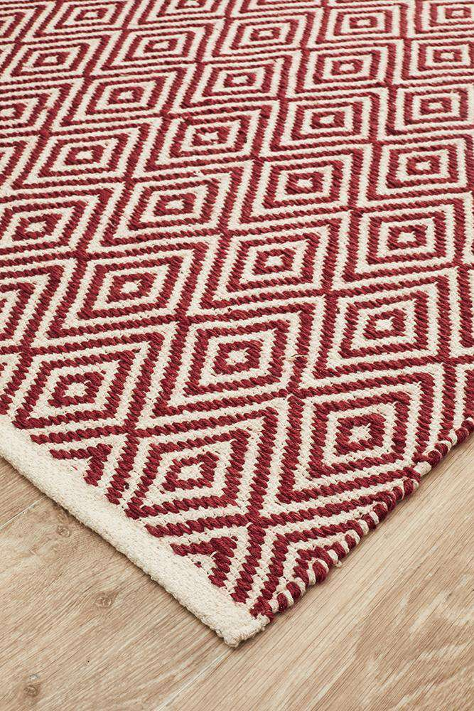 Abode Diamond Design Red Rug