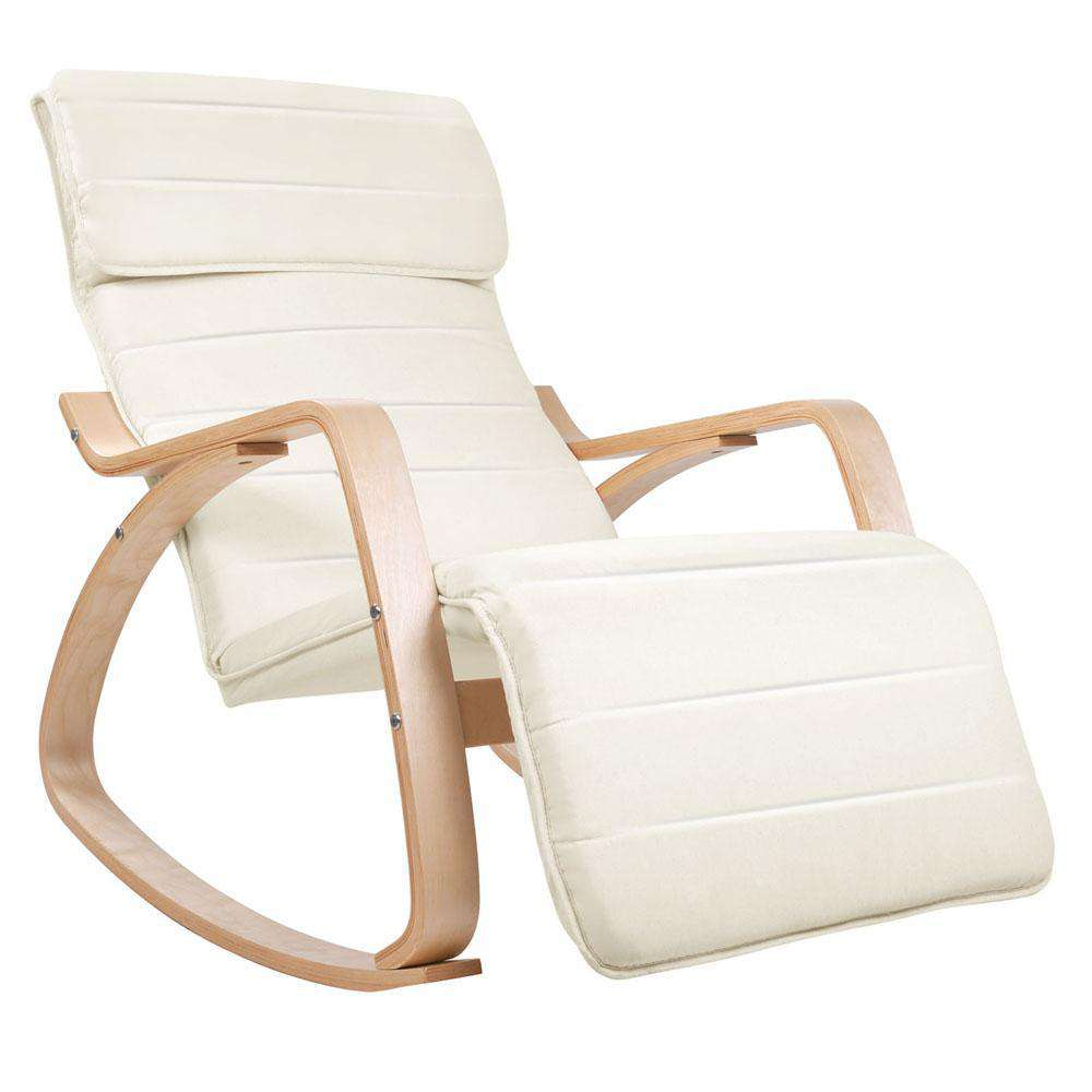 Birch Plywood Adjustable Rocking Lounge Arm Chair w/ Fabric Cushion Beige