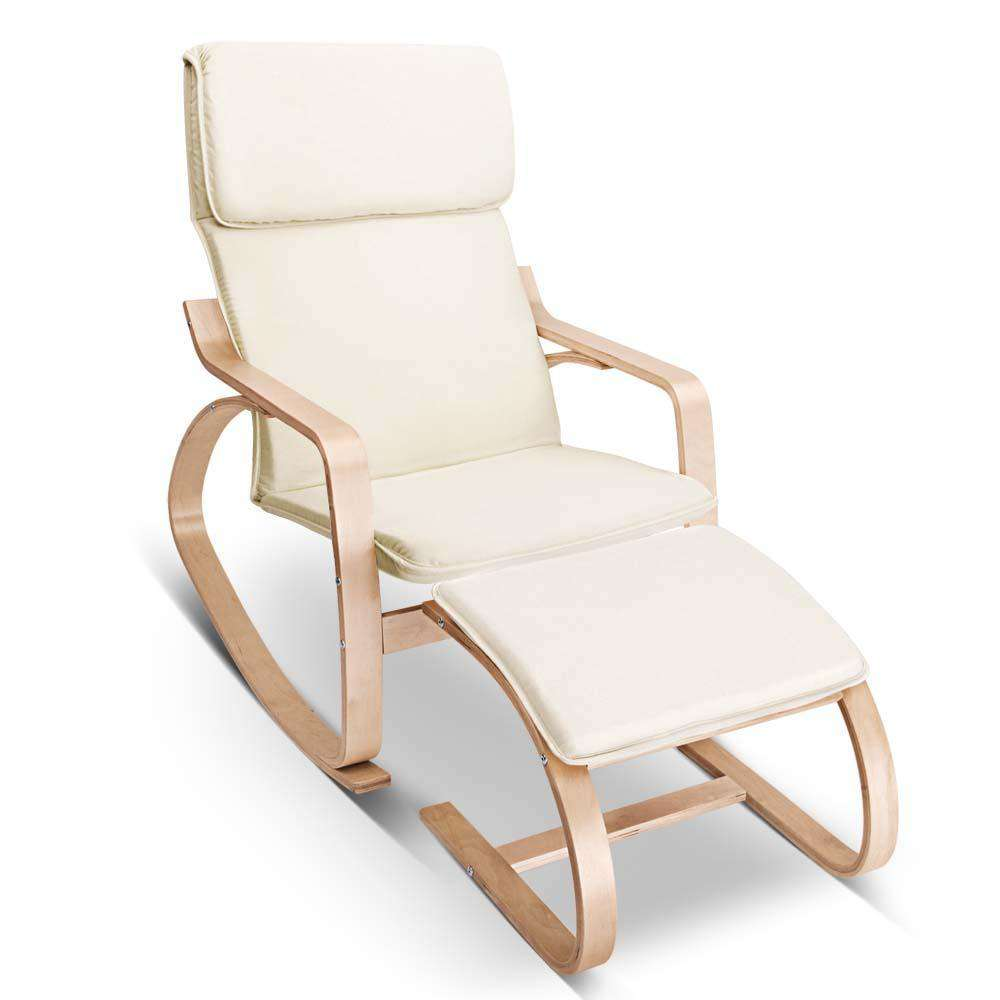 Birch Plywood Fabric Lounge Rocking Chair - Beige - with Foot Stool