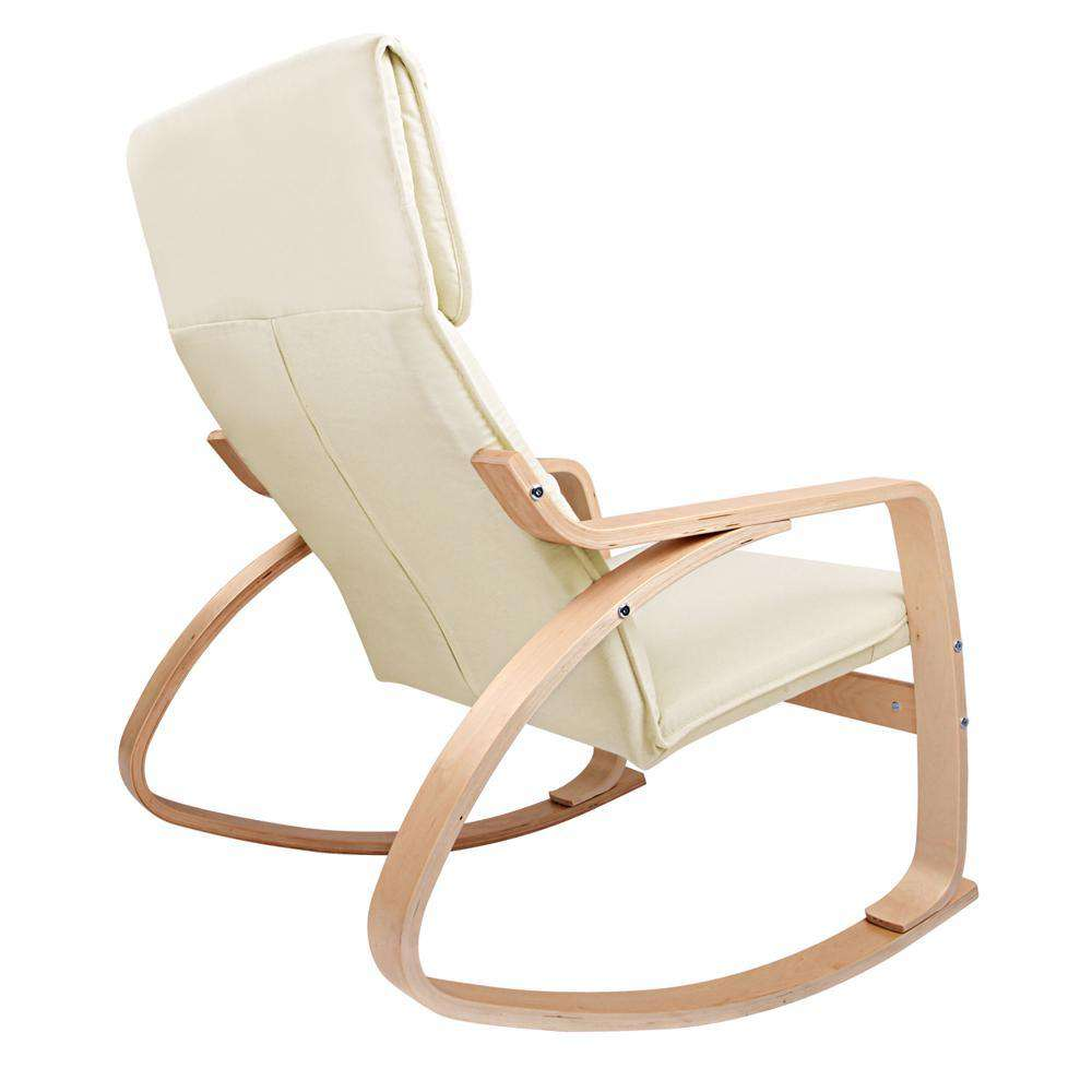 Artiss Wooden Armchair with Foot Stool - Beige