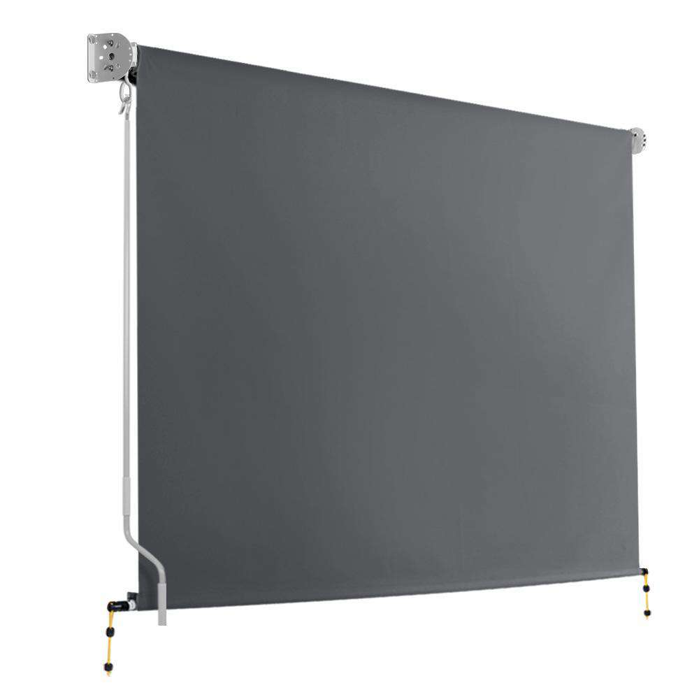 2.7m x 2.5m Retractable Roll Down Awning - Grey