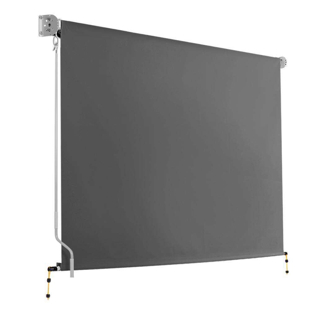 3m x 2.5m Retractable Roll Down Awning - Grey