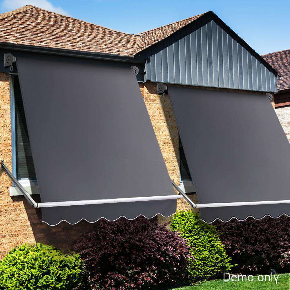 Instahut 1.8m x 2.1m Retractable Fixed Pivot Arm Awning - Grey