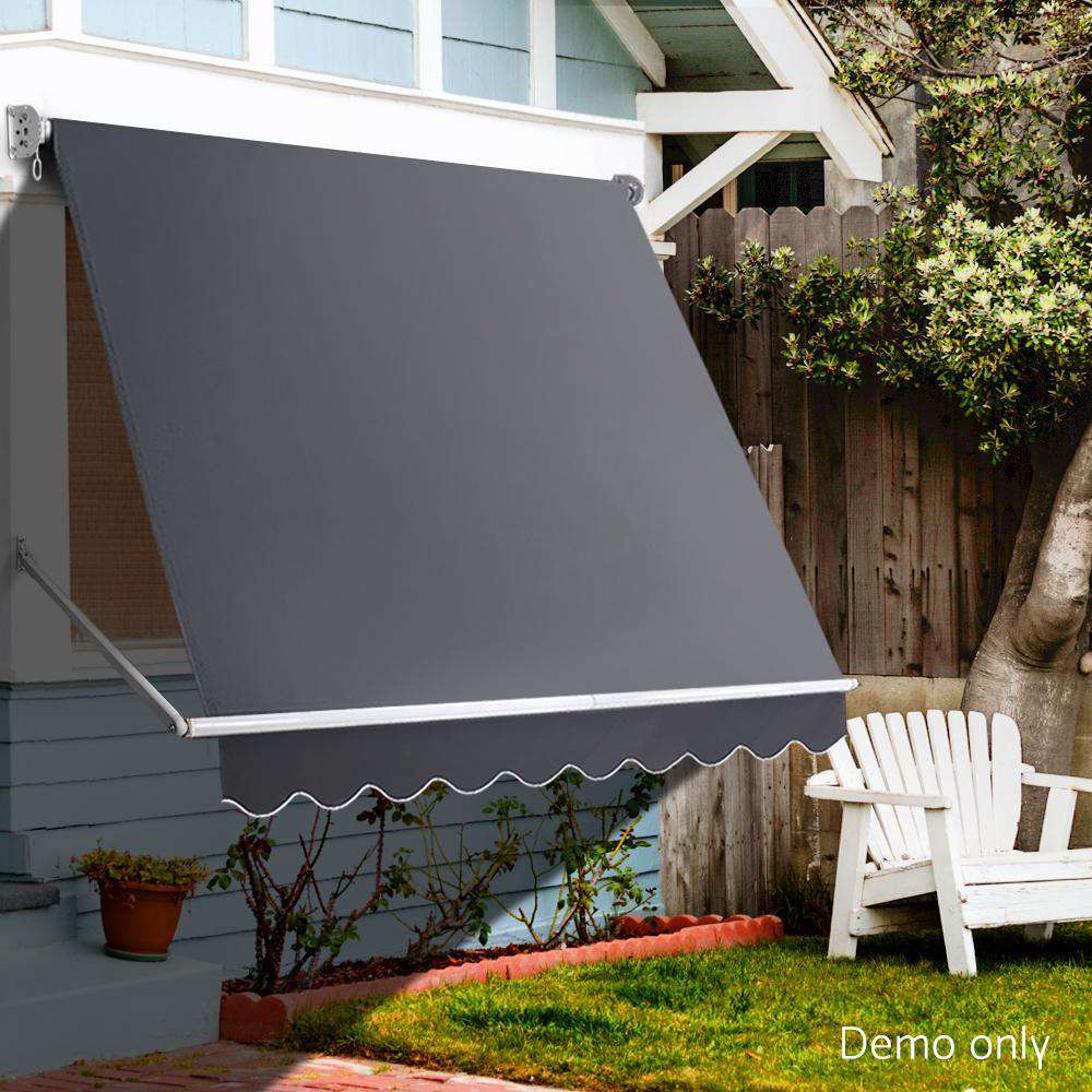 Instahut 2.4m x 2.1m Retractable Fixed Pivot Arm Awning - Grey