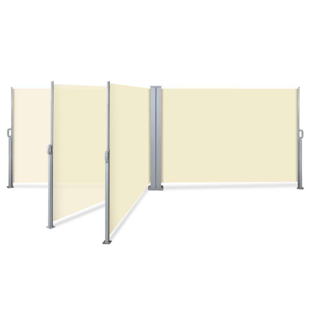 Instahut 1.8X6M Retractable Side Awning Garden Patio Shade Screen Panel Beige