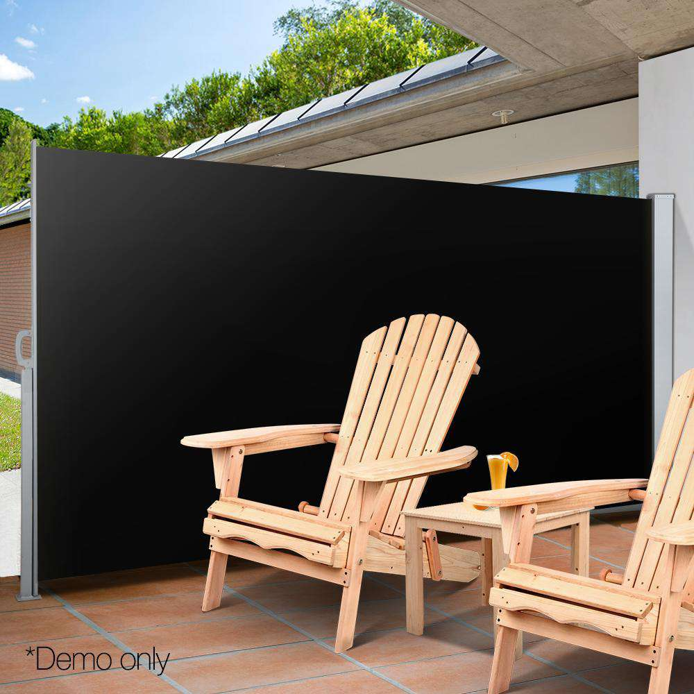 Retractable Side Awning Shade 200cm Black - Desirable Home Living