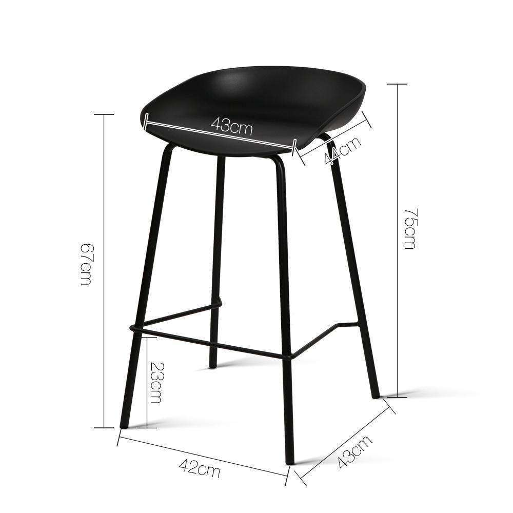 Set of 2 Bar Stools with PP Plastic Seat Black - Desirable Home Living