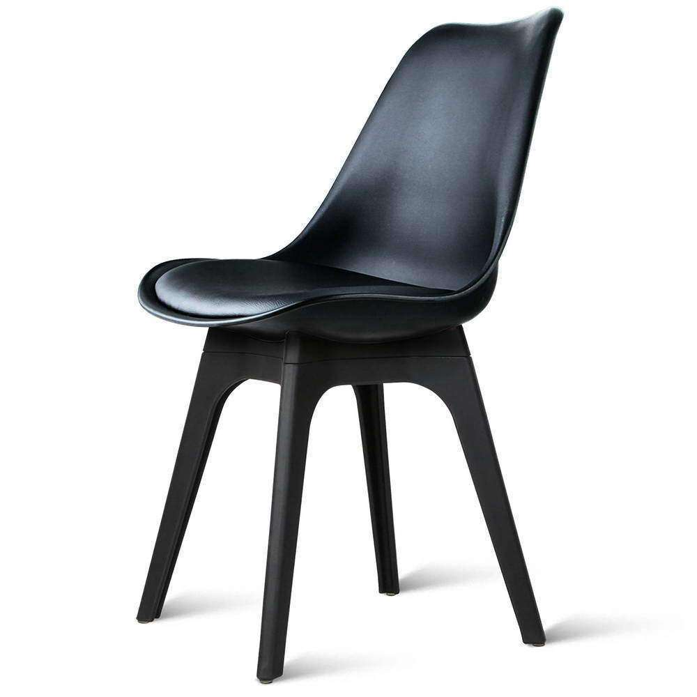 Set of 4 Replica Eames DSW PU Leather Chair Black - Desirable Home Living