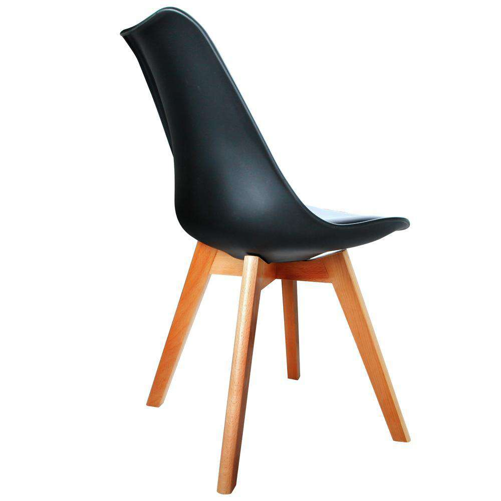 Set of 2 Dining Chair PU Leather Seat Black - Desirable Home Living