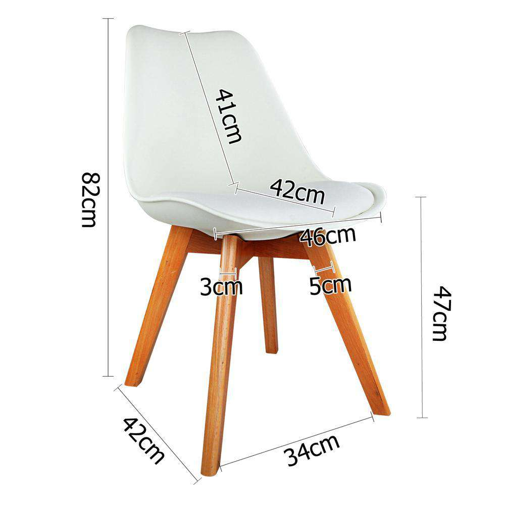 Set of 4 Dining Chair PU White - Desirable Home Living