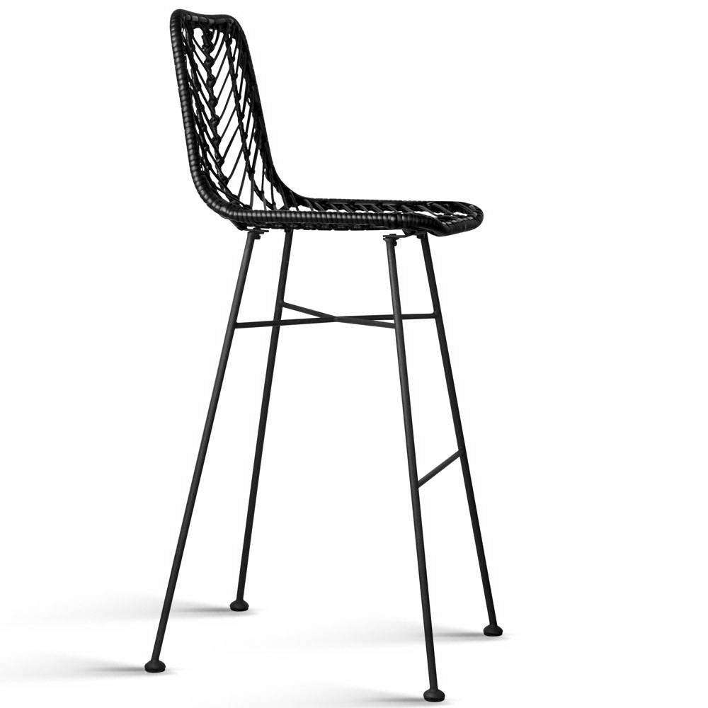 Set of 2 Rattan Bar Stools Black - Desirable Home Living