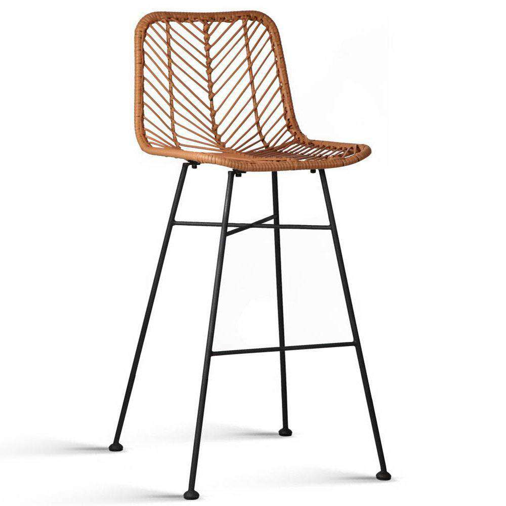 Set of 2 Rattan Bar Stools Natural