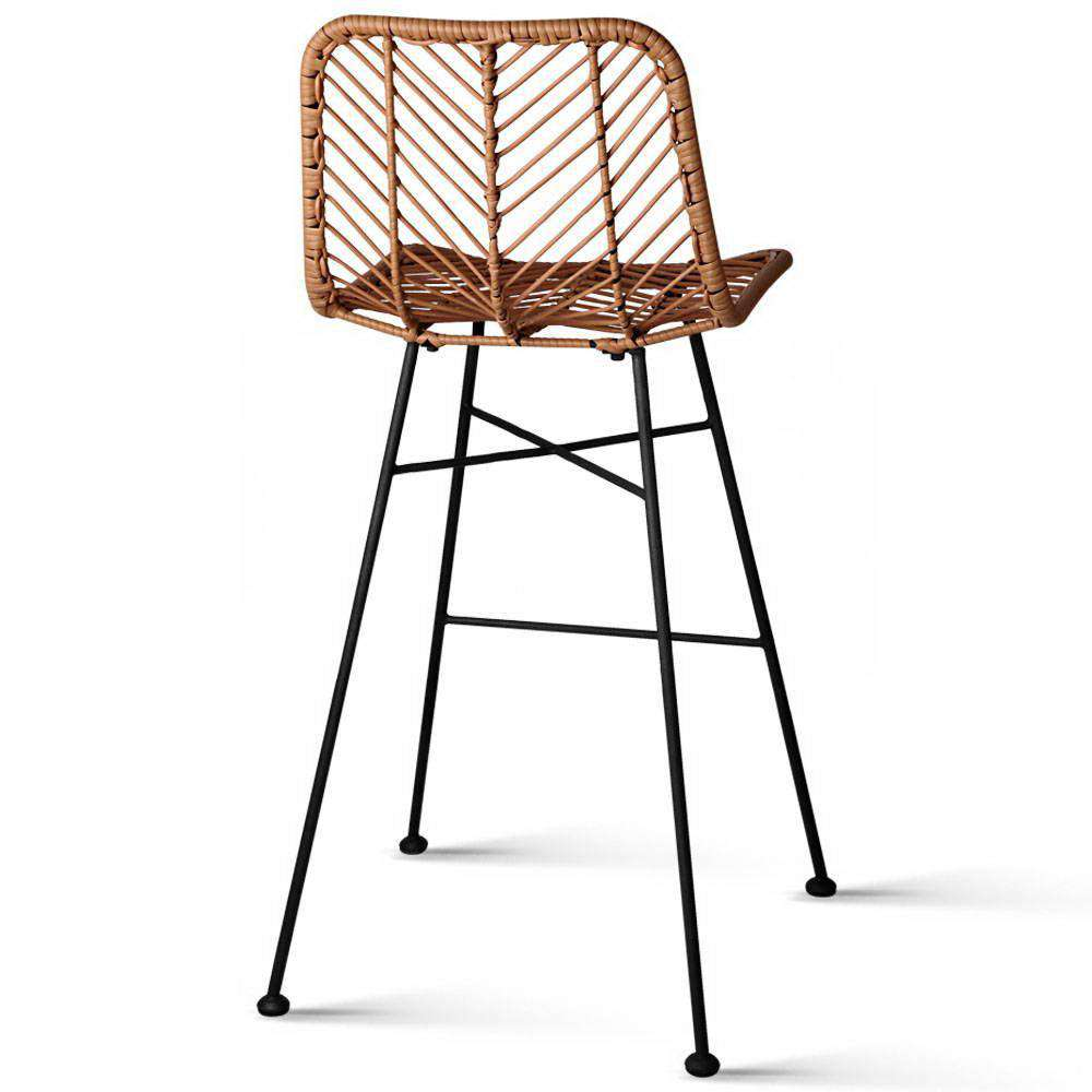 Set of 2 Rattan Bar Stools Natural - Desirable Home Living