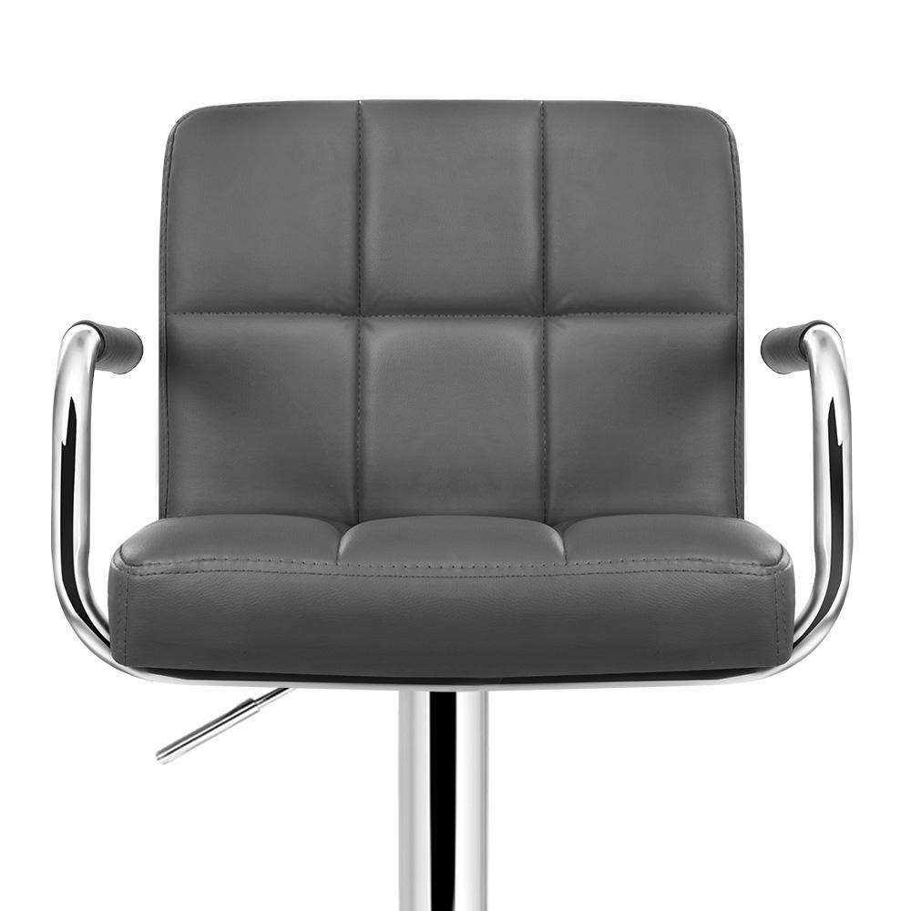 Artiss 2x Bar Stools Gas lift Swivel Chairs Kitchen Armrest Leather Chrome Grey