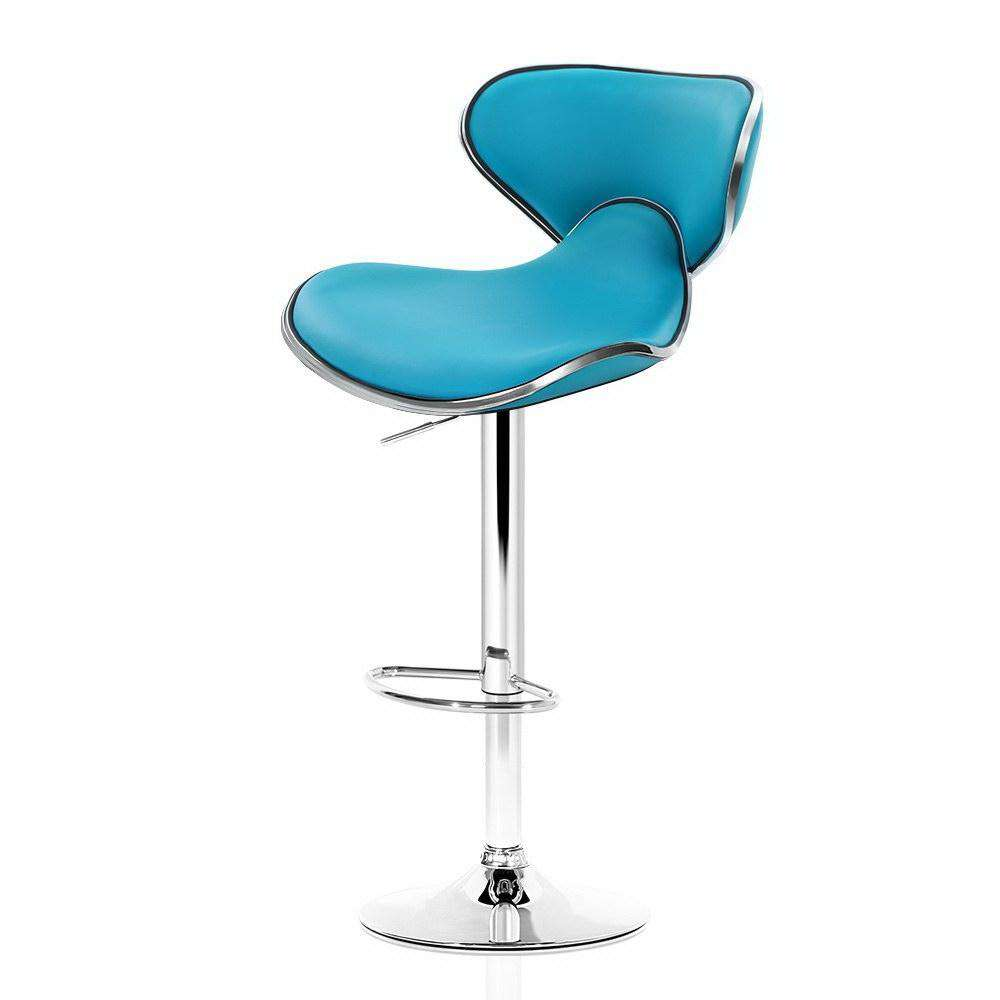 Artiss 2x Bar Stools Gas lift Swivel Chairs Kitchen Leather Chrome Teal