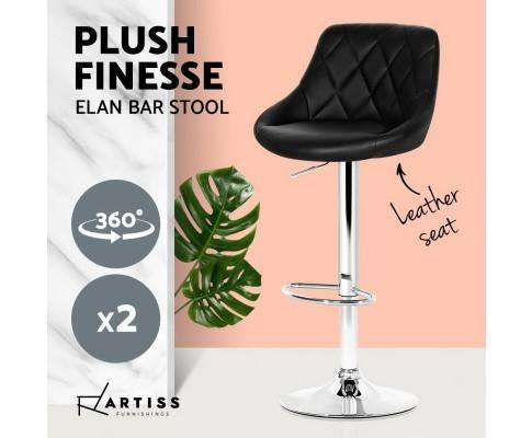 Artiss 2x Bar Stools Kitchen Gas Lift Swivel Chairs Leather Chrome Black