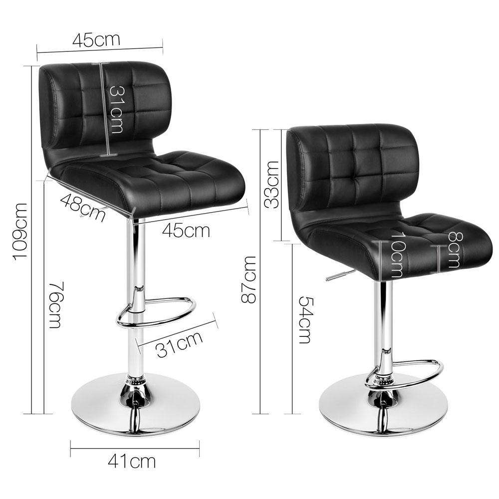 Set of 2 Leather Bar Stools - Black - Desirable Home Living
