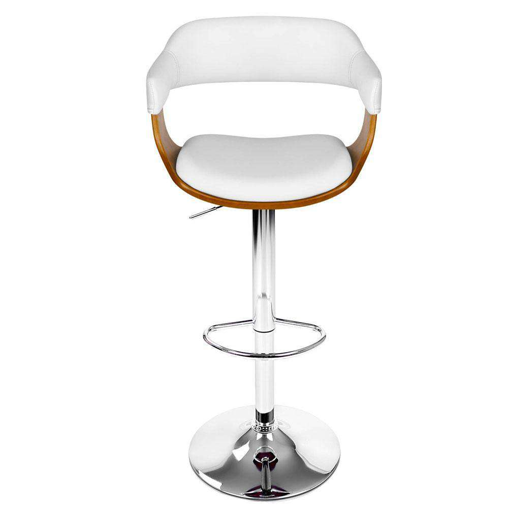 PU Leather Wooden Kitchen Bar Stool White - Desirable Home Living