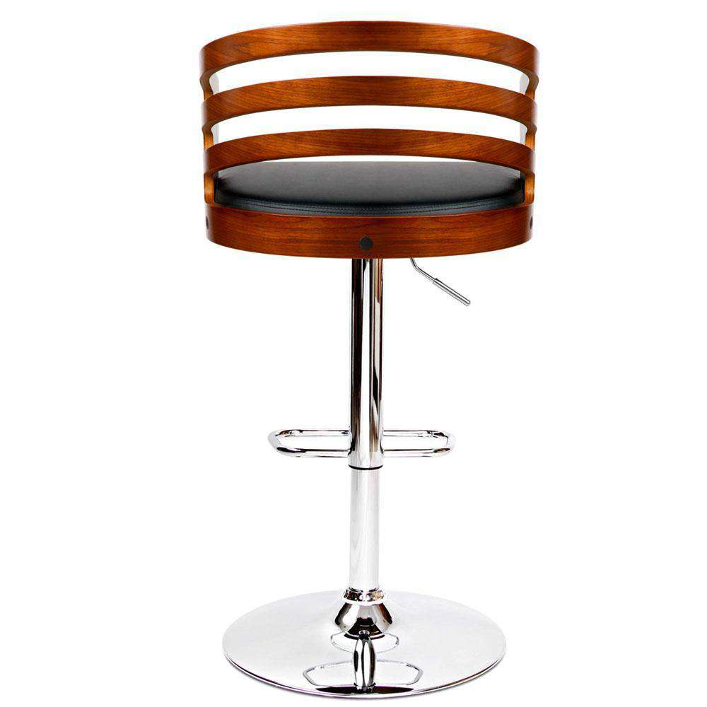 PU Leather Wooden Kitchen Bar Stool Black - Desirable Home Living