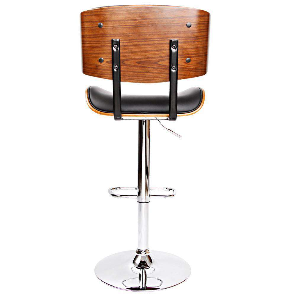 PU Leather Bar Stool with Chrome Base Black - Desirable Home Living