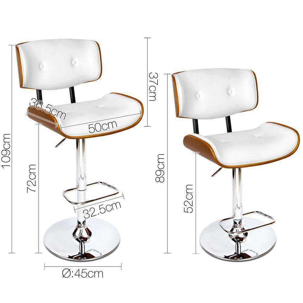 PU Leather Bar Stool with Chrome Base White - Desirable Home Living