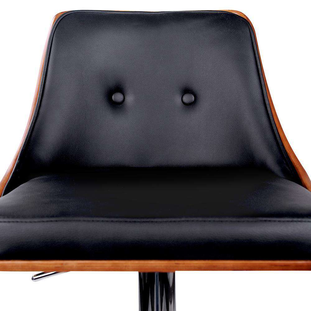 PU Leather Wooden Bar Stool Black - Desirable Home Living