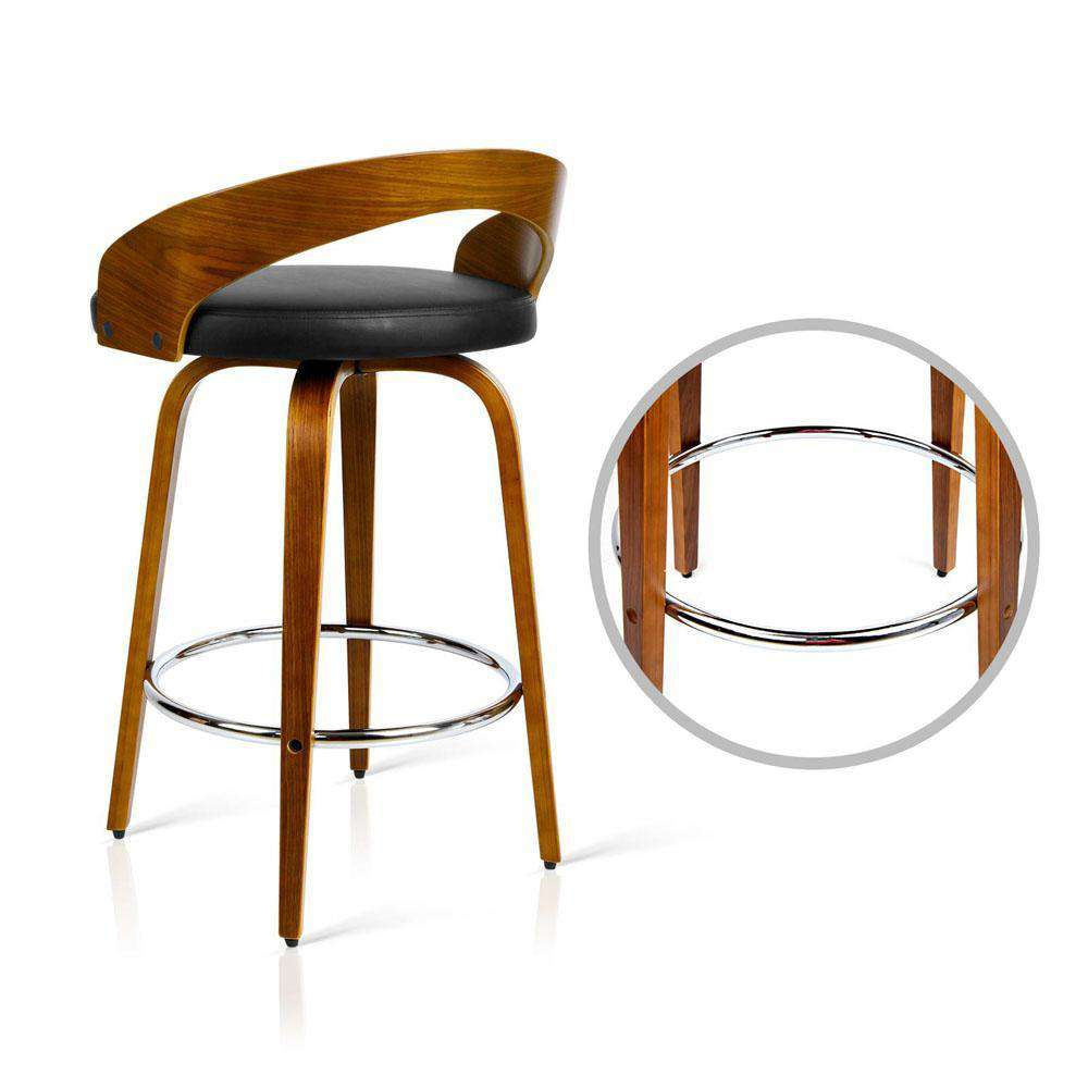 Set of 2 PU Leather Bar Stool with Chrome Footrest Black - Desirable Home Living
