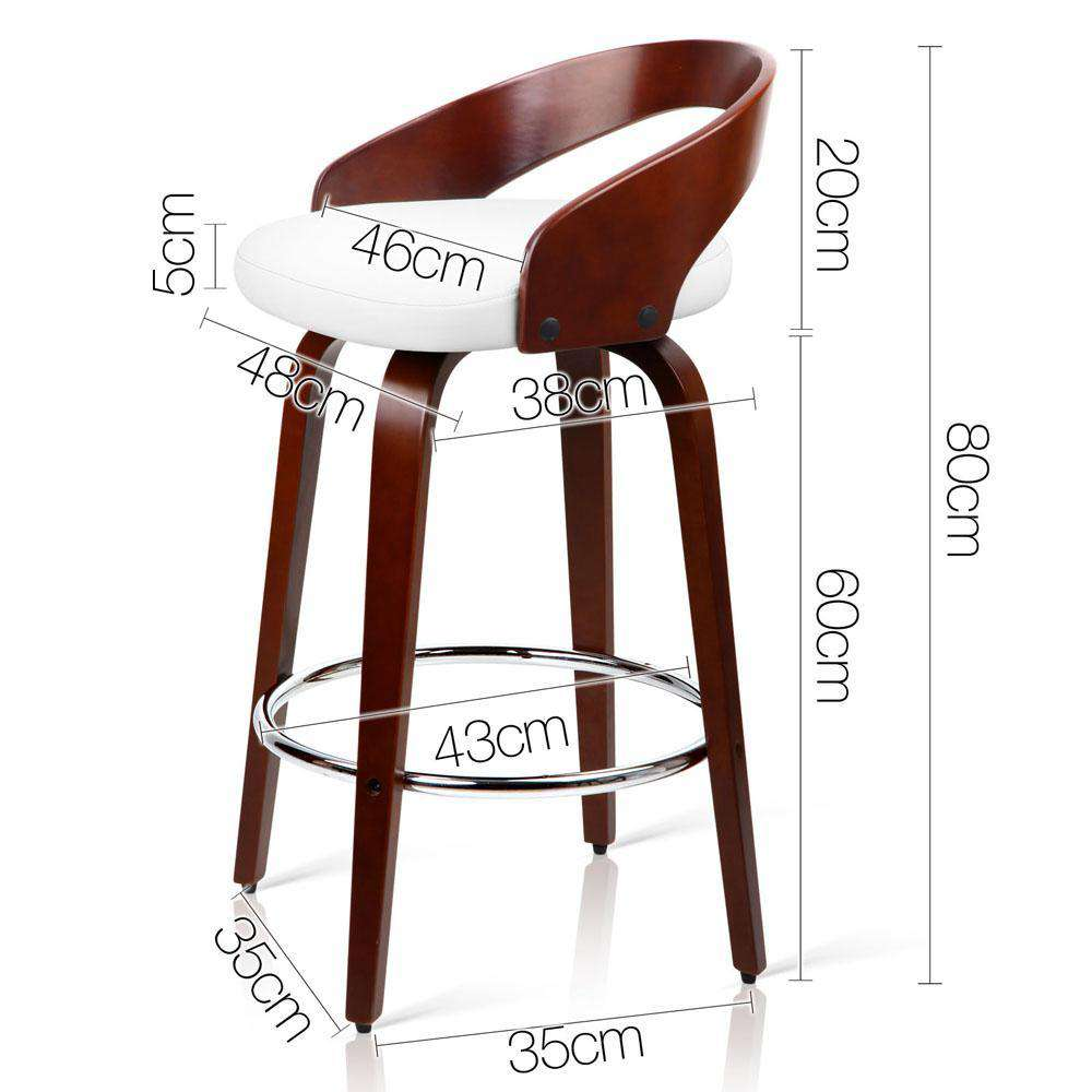 Set of 2 PU Leather Bar Stool with Chrome Footrest White - Desirable Home Living