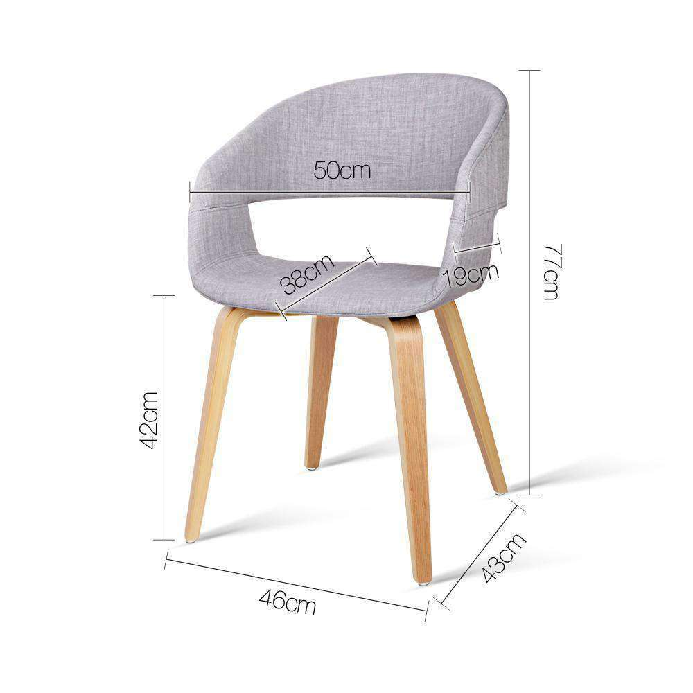 Set of 2 Modern Dining Chairs - Light Grey - Desirable Home Living