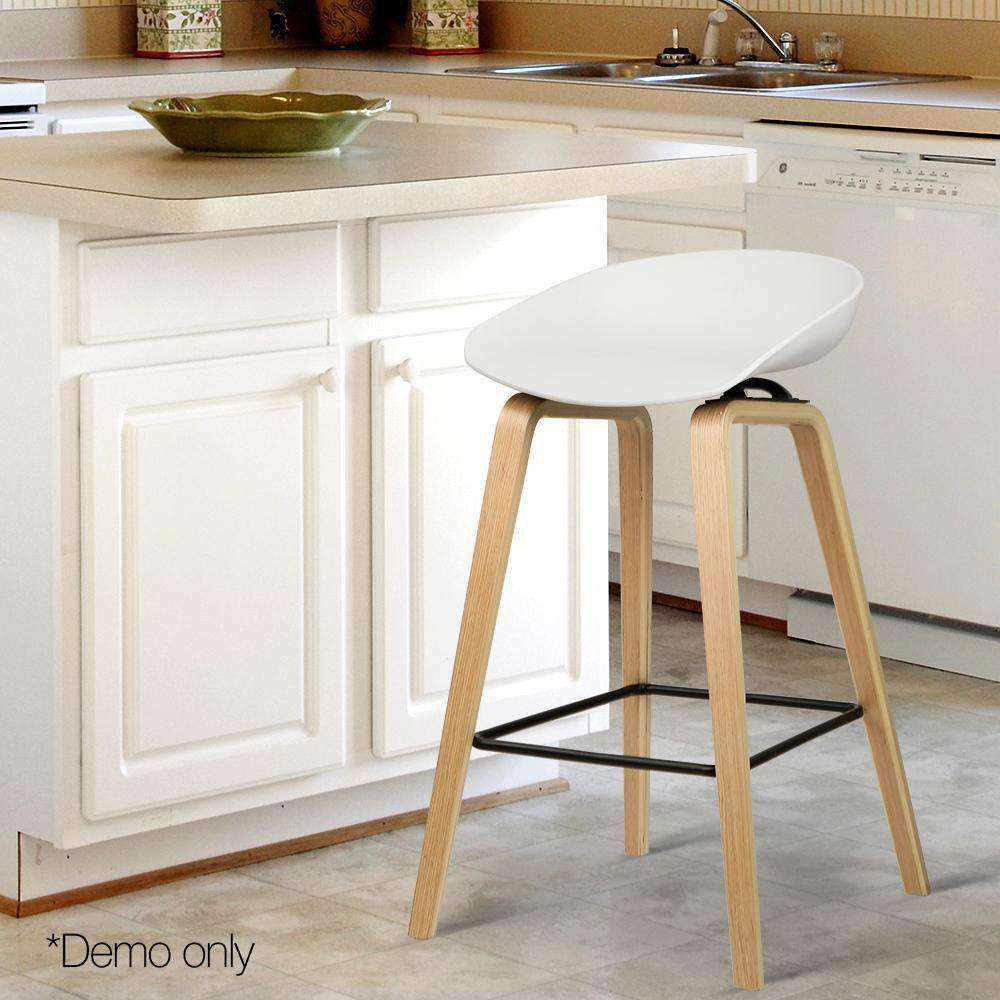 Set of 2 Wooden Barstools with Metal Footrest White - Desirable Home Living