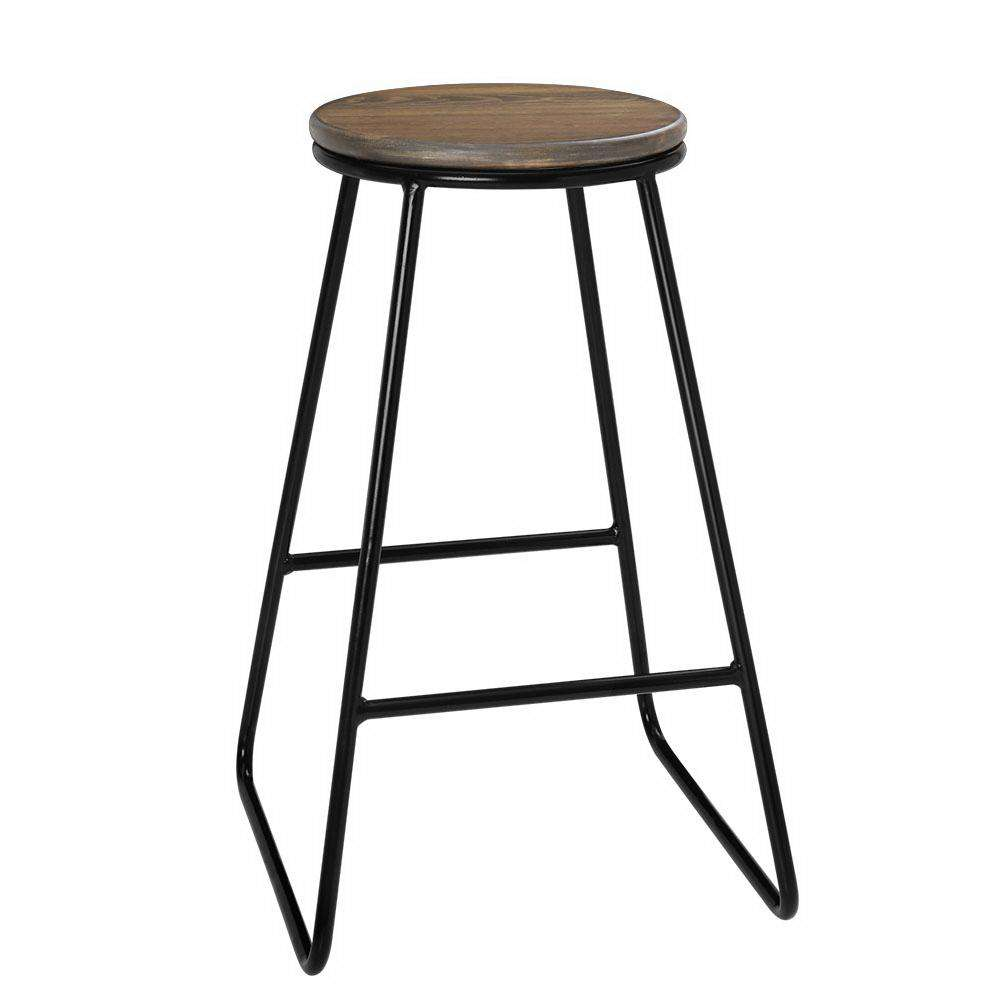 Artiss 4x Retro Bar Stools Rustic Vintage Kitchen Stools Chairs Metal Pine Wood Seat 66cm