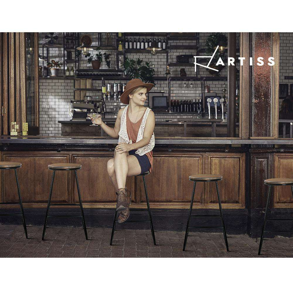 Artiss 4x Retro Bar Stools Pine Wood Seat 66cm