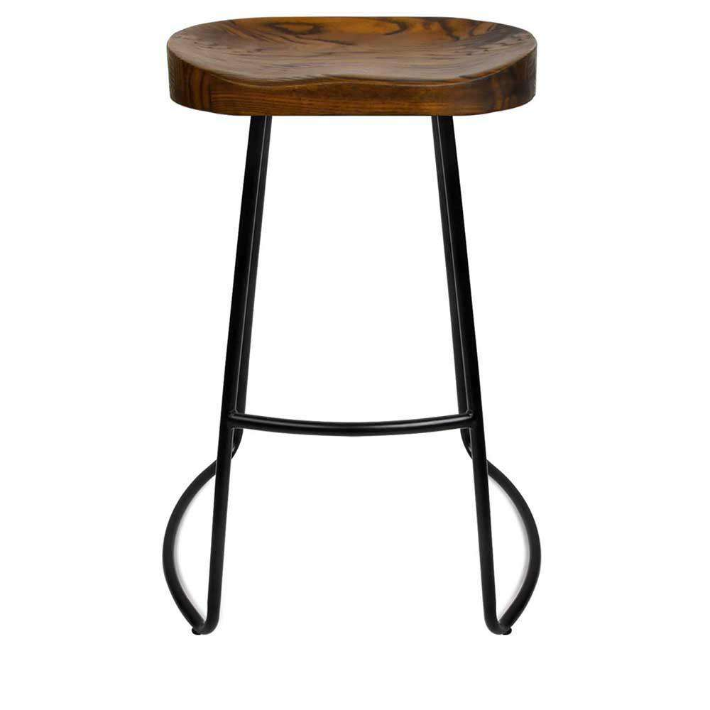 Set of 2 Steel Barstools with Wooden Seat 65cm - Desirable Home Living