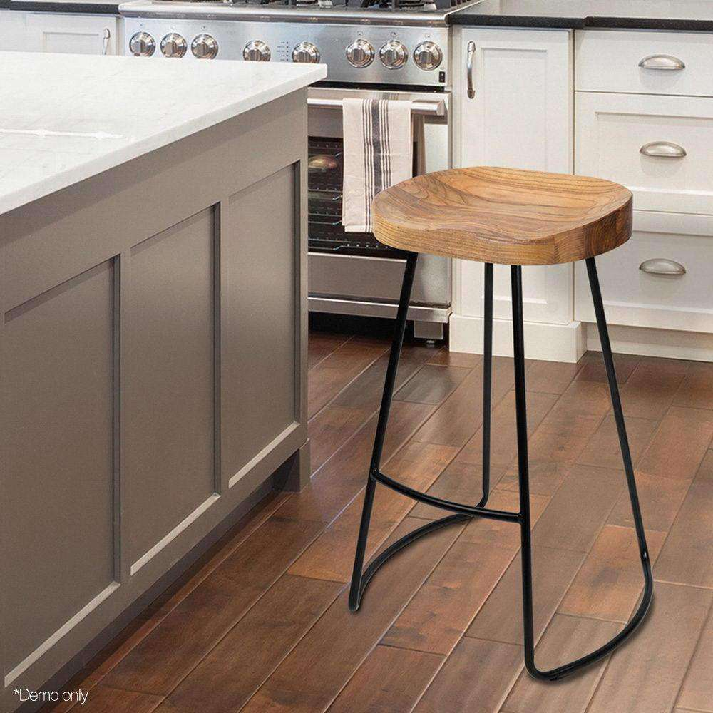 Set of 2 Steel Barstools with Wooden Seat Natural - Desirable Home Living