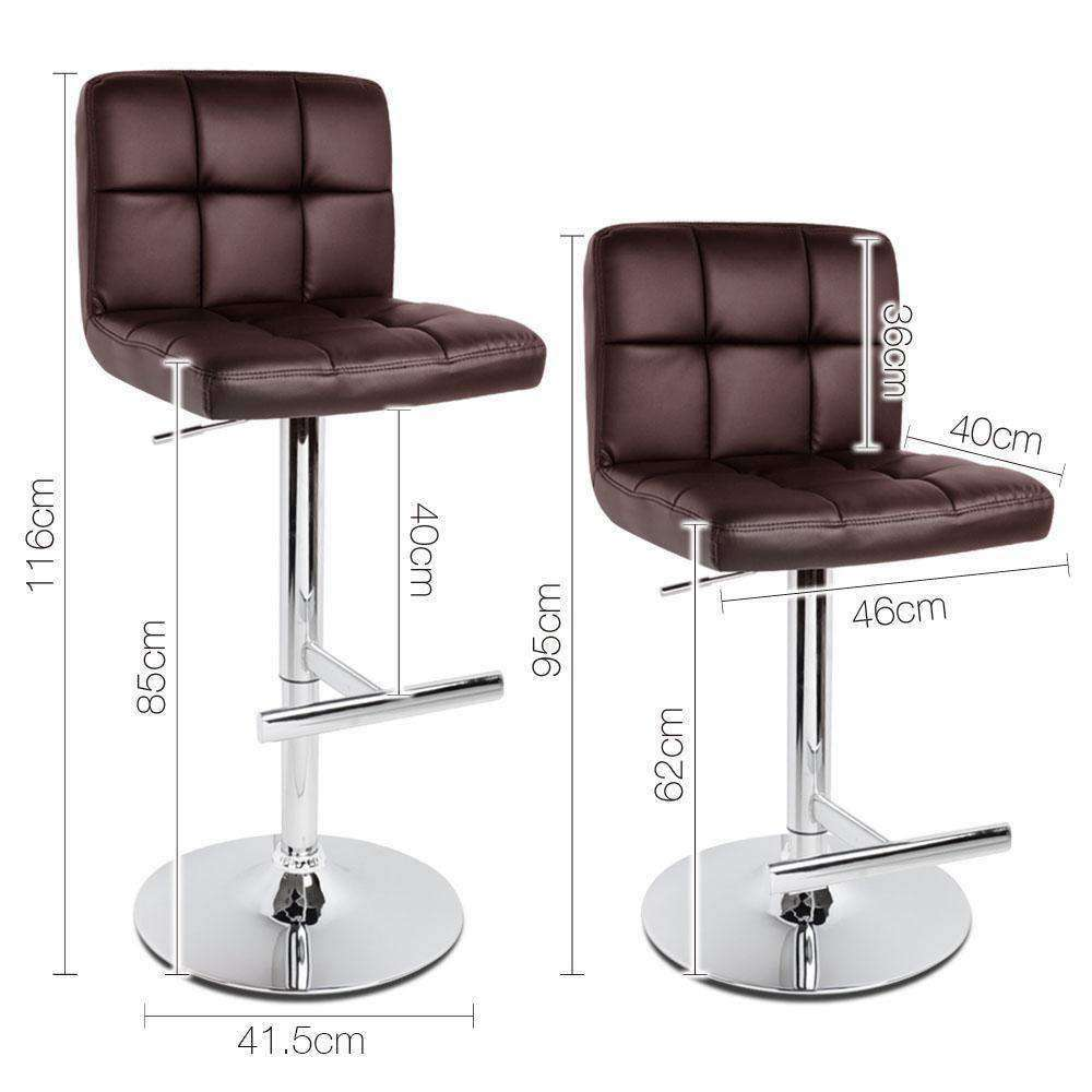 Set of 2 PU Leather Kitchen Bar Stools - Chocolate - Desirable Home Living