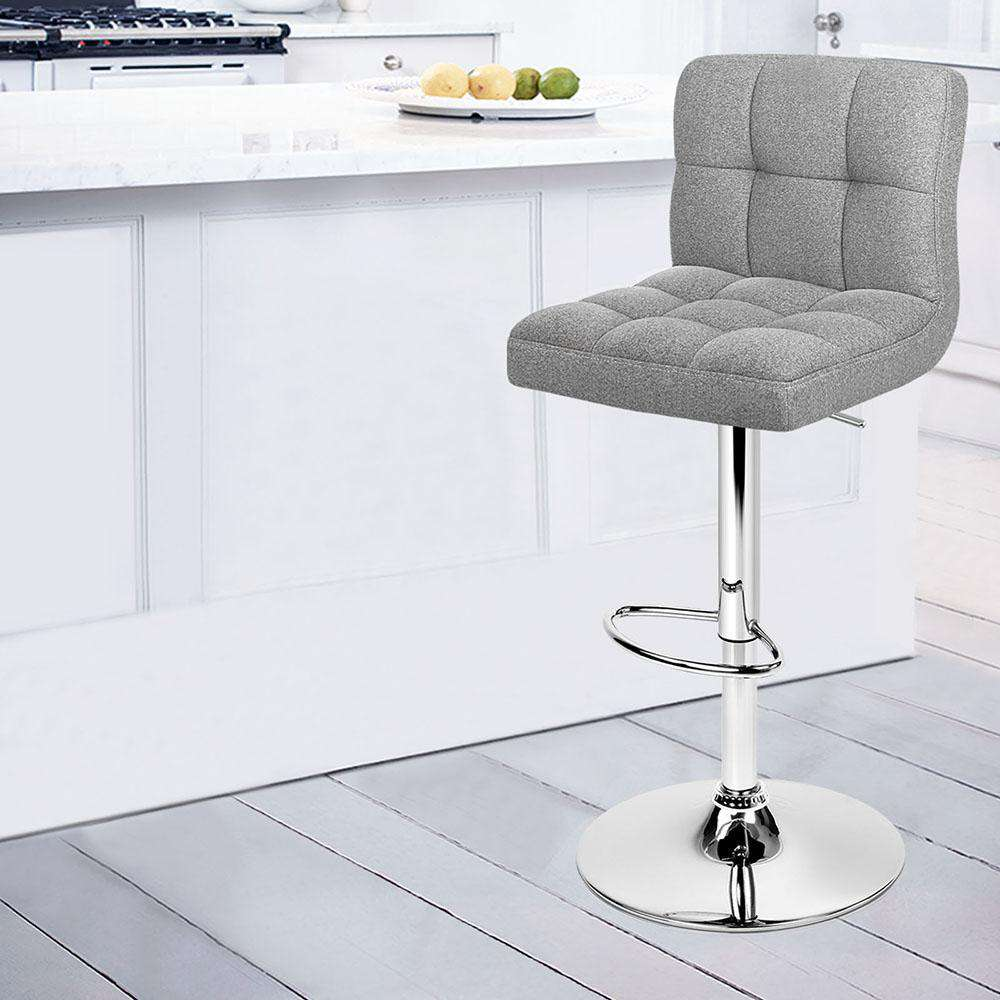 Set of 2 Fabric Kitchen Bar Stools - Grey - Desirable Home Living
