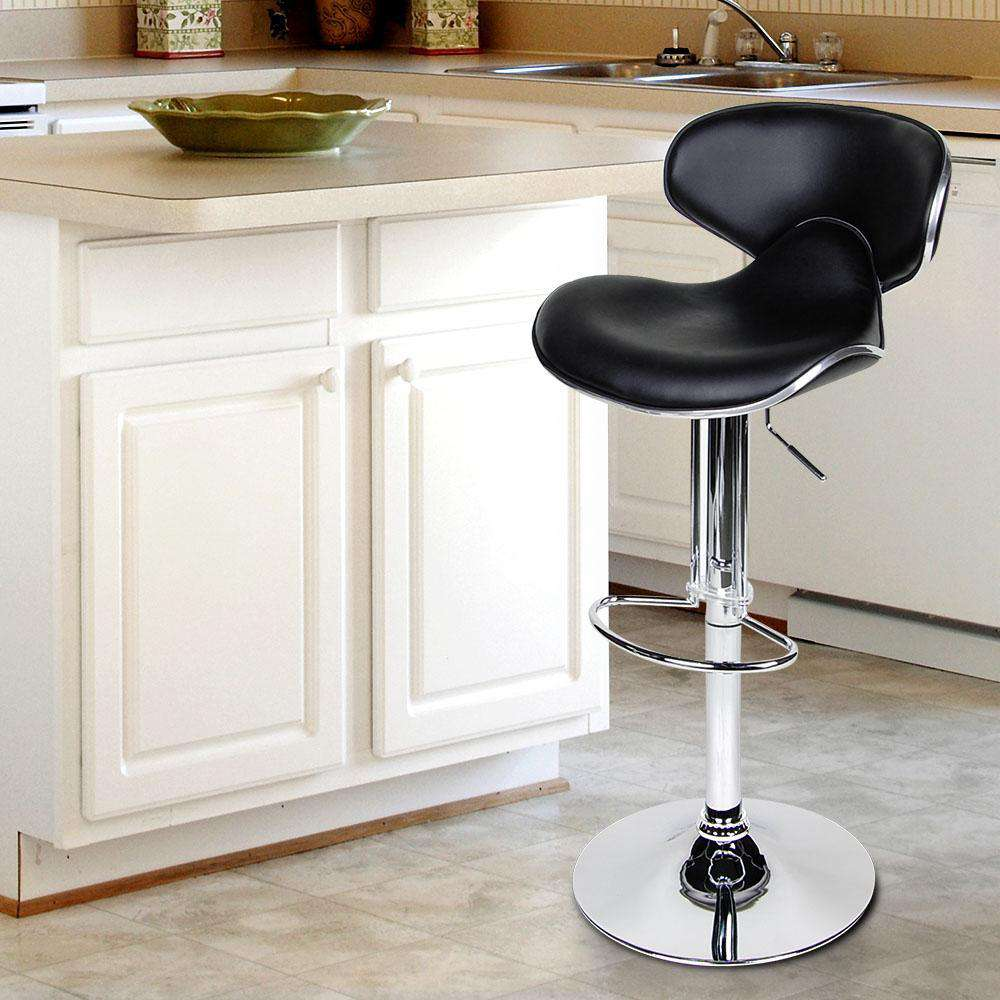Set of 2 PU Leather Kitchen Bar Stool Black - Desirable Home Living