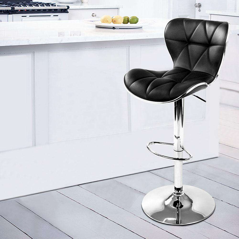 Set of 2 PU Leather Kitchen Bar Stools - Black - Desirable Home Living