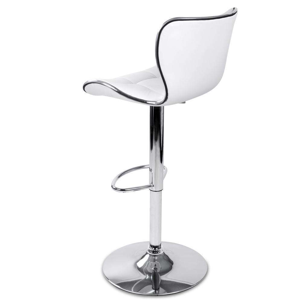 Set of 2 PU Leather Kitchen Bar Stools - White - Desirable Home Living