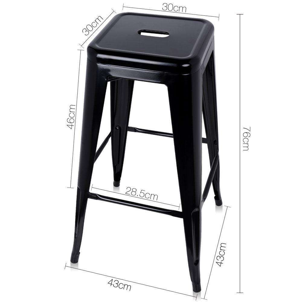 Set of 2 Steel Kitchen Bar Stools 76cm Black - Desirable Home Living