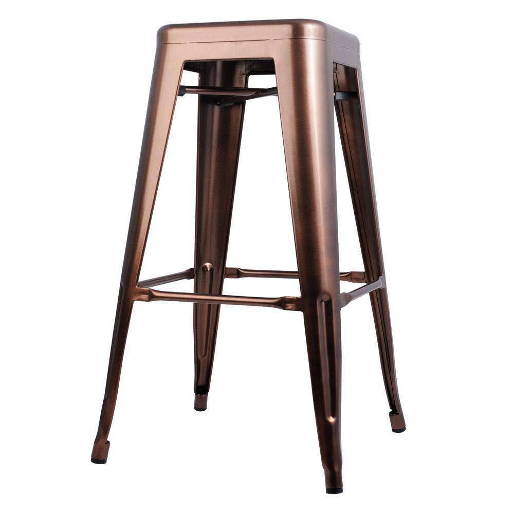 Set of 2 Steel Kitchen Bar Stools 76cm - Bronze - Desirable Home Living