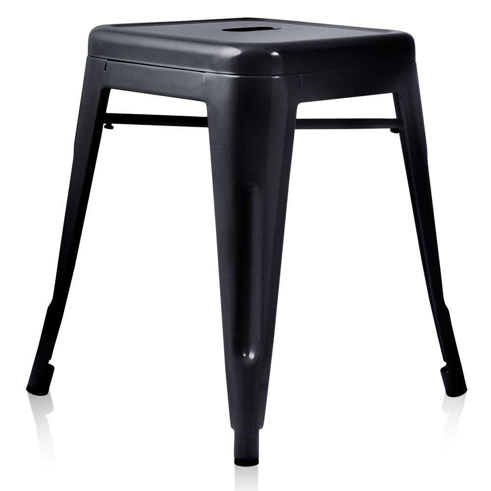Set of 4 Replica Tolix Kitchen Bar Stool 46cm Black - Desirable Home Living